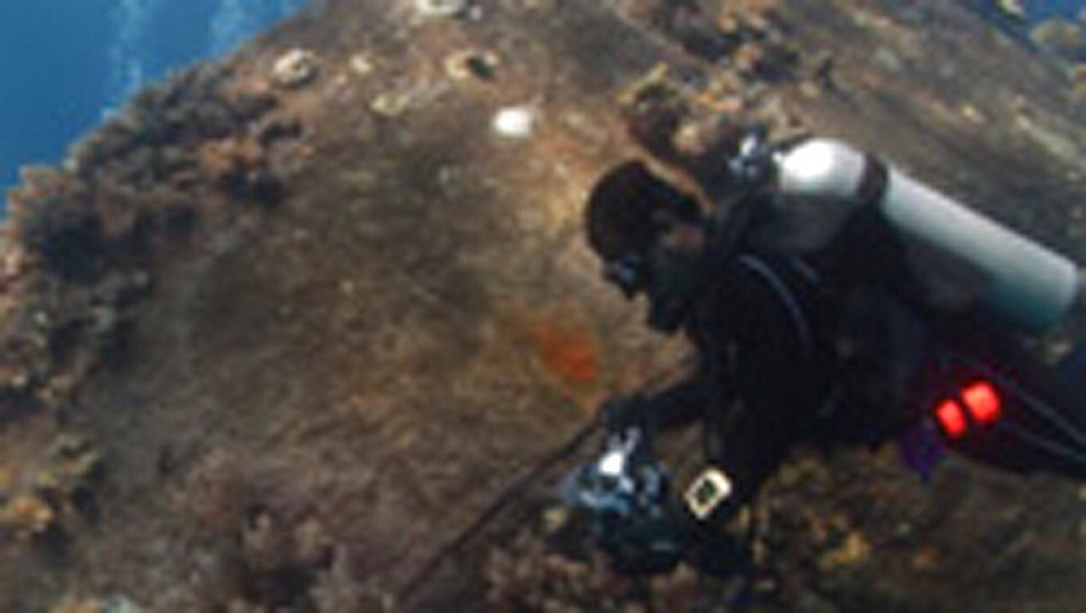 Diver filming wreck. Pacific - 981-453