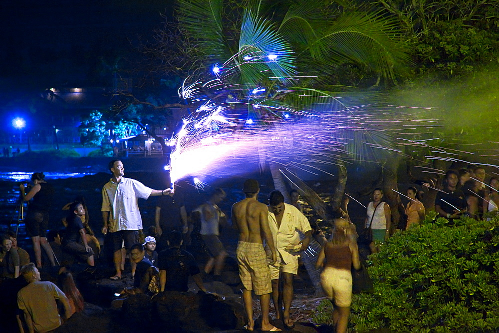 people enjoying fireworks on Fourth of July - Independence Day, Kailua Bay, Kailua Kona, Hawaii, Pacific Ocean No MR