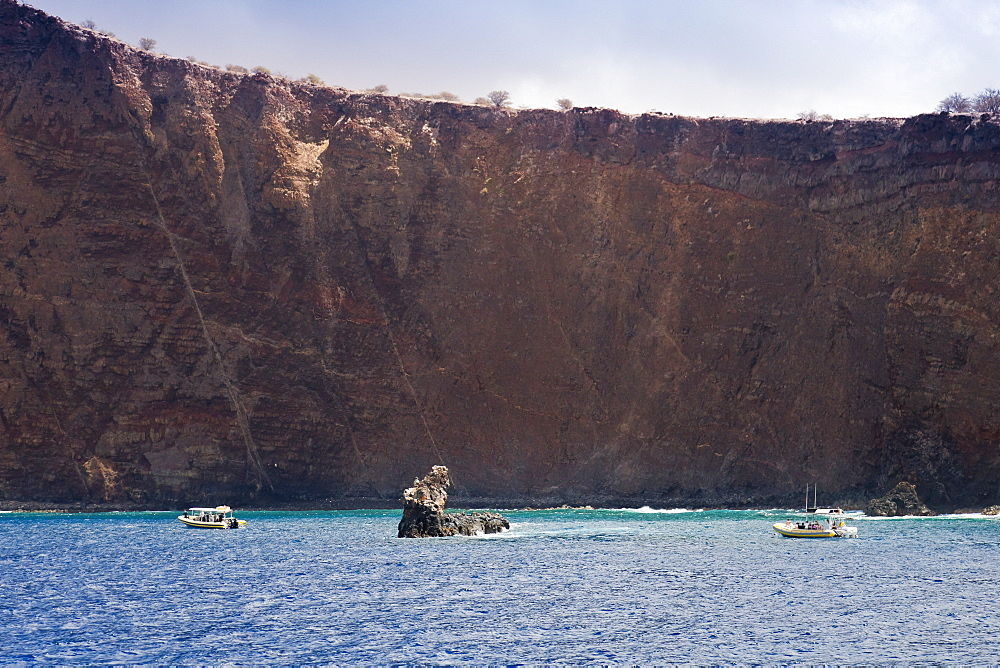Moku Naio aka Shark Fin Rock, a popular dive site, Kaholo Pali sea cliff , 194 feet (59.13m) high, South Lāna'i, Lāna'i aka Pineapple Island because of its past as an island-wide pineapple plantation of Dole, the sixth-largest island of the Hawaiian Islands, Hawaii, USA, Pacific Ocean - 983-535