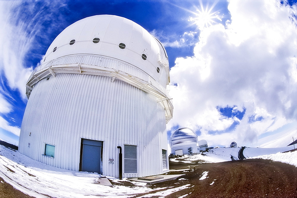 Canada-France-Hawaii Telescope ( CFHT ), Gemini Northern 8-meter Telescope, and other Mauna Kea Observatories in background, Mauna Kea summit, Big Island, Hawaii, USA - 983-570