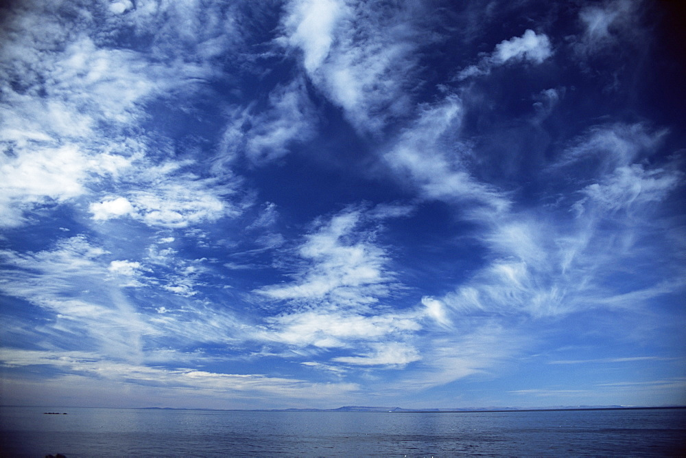 Seascape and cloud formations looking to the west from coast of Iceland. - 985-50