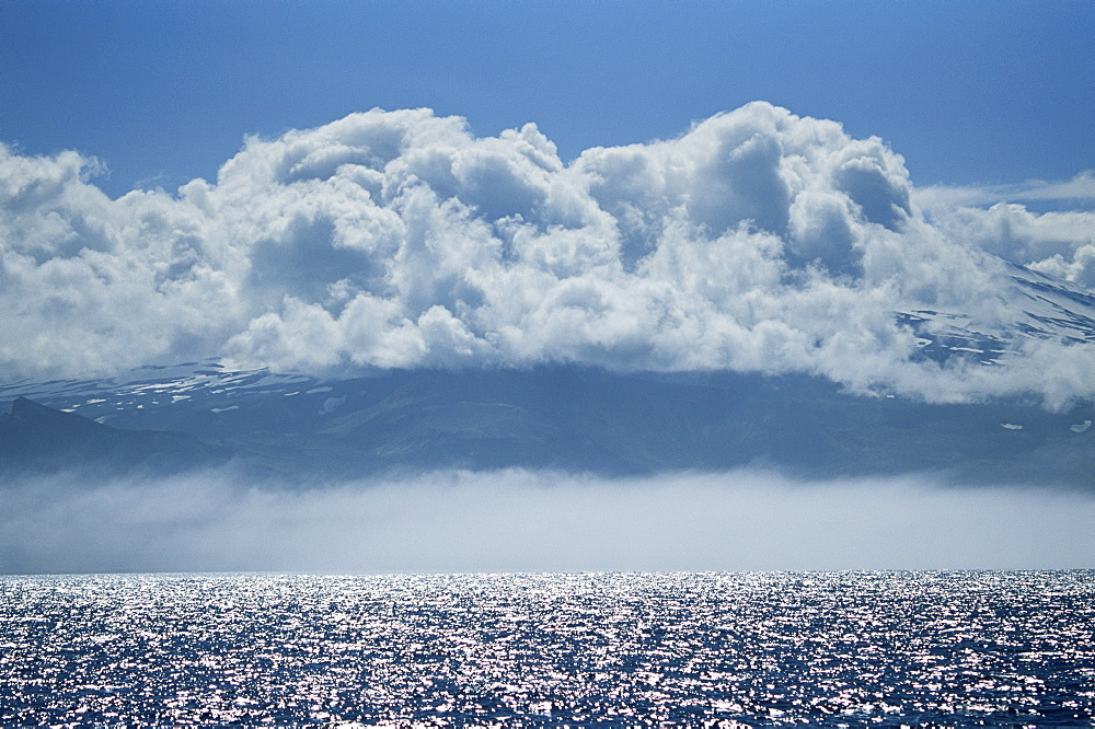 Snaefellsjokull Glacier covered in cloud, Snaefellness Peninsula, Western Iceland