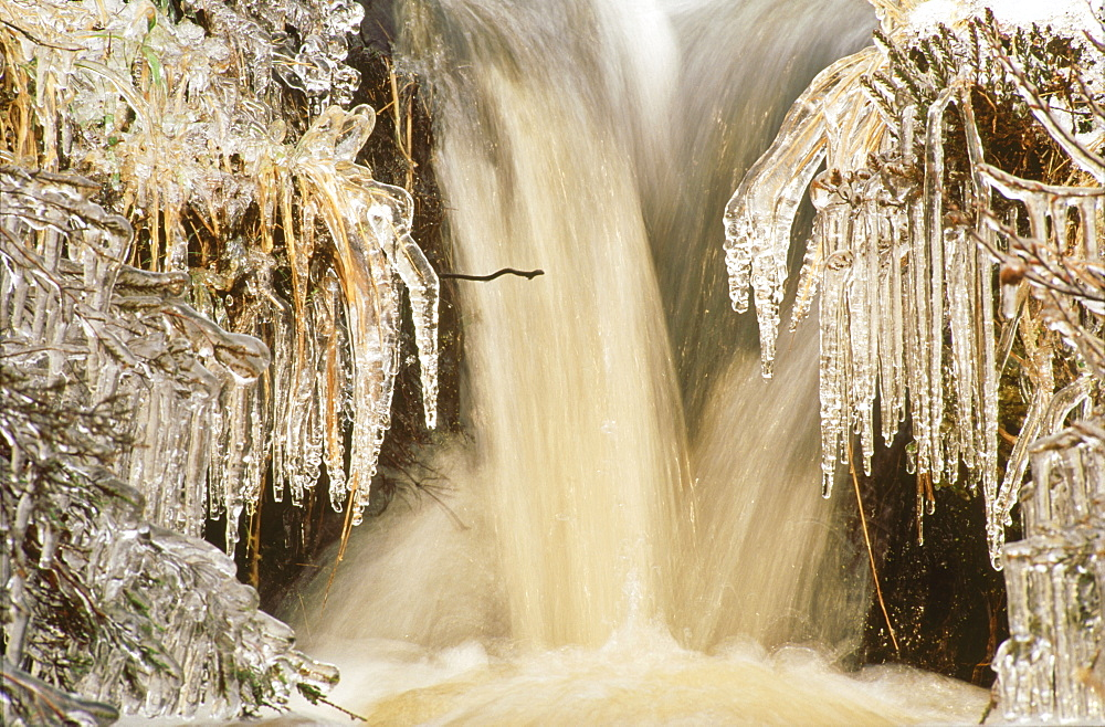 Icicles and gushing water
