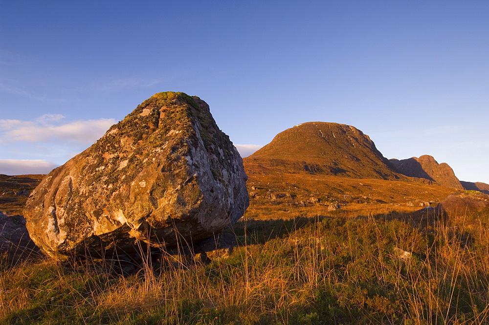 Torridonian Sandstone boulder at dawn, Torridon, Wester Ross, Scotland - 987-355
