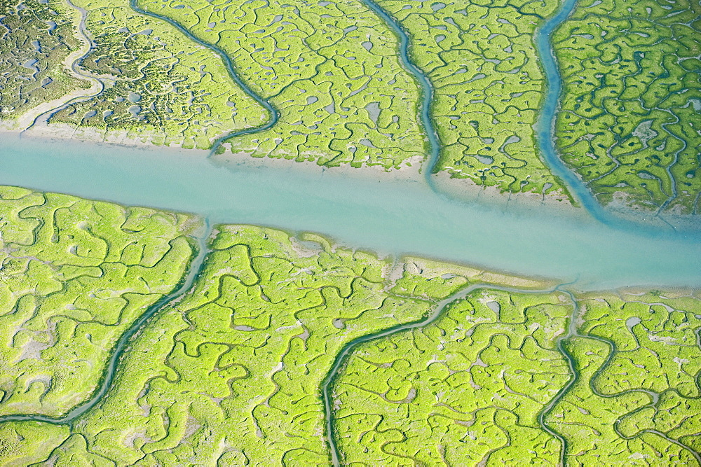 Aerial view of saltmarsh at low tide near Cadiz, Spain - 987-513
