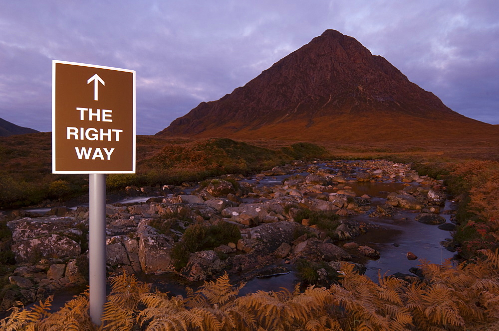 Spoof tourist sign  in front of  Buachaille Etive Mor, Scotland - 987-550