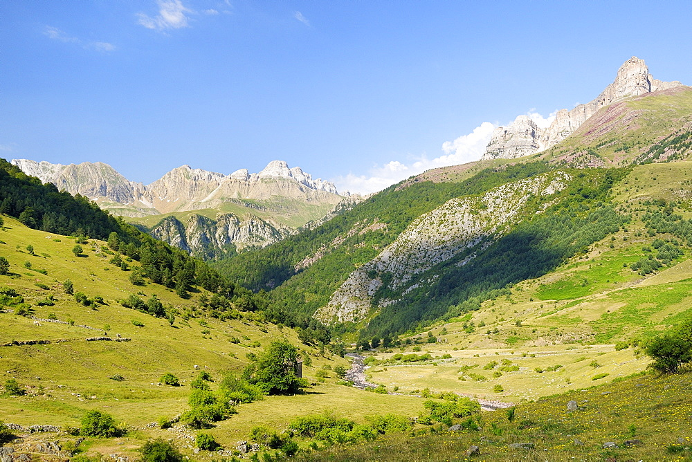 Rio Aragon Subordan and upper Hecho valley overlooked by karst limestone peaks and woods, Huesca, Aragon, Spain, Europe
