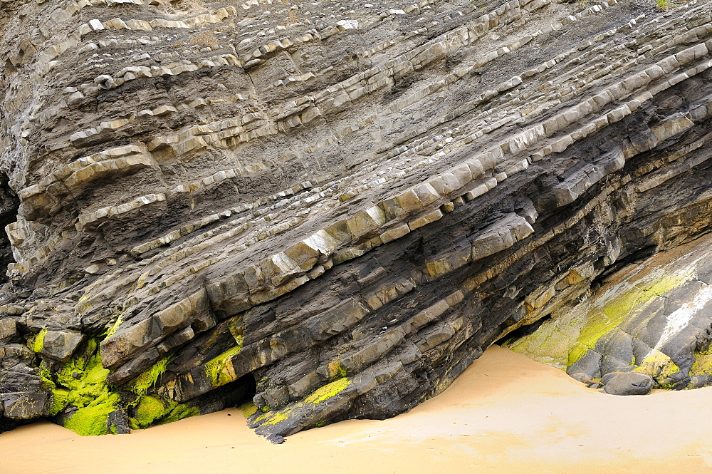 Folded layers of Jurassic sedimentary limestone and marl rocks in the cliffs at Vega beach, Ribadesella, Asturias, Spain, Europe