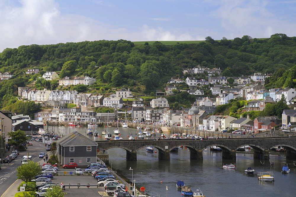 Overview of Looe harbour and bridge linking East and West Looe, Cornwall, England, United Kingdom, Europe