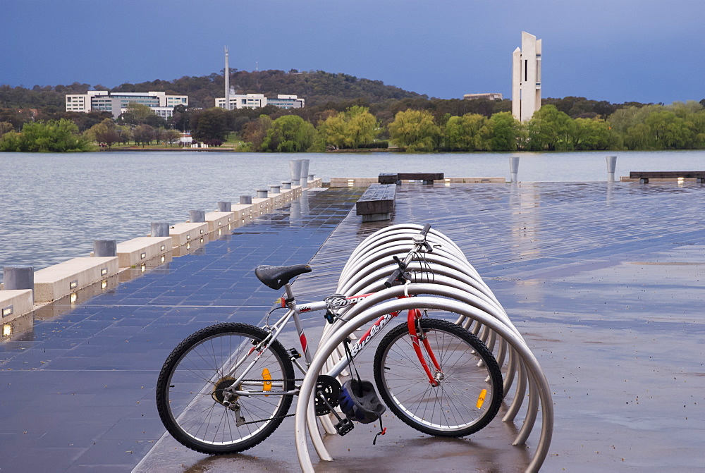 Bike on pontoon after storm, Lake Burley Griffin, Canberra, Australian Capital Territory, Australia