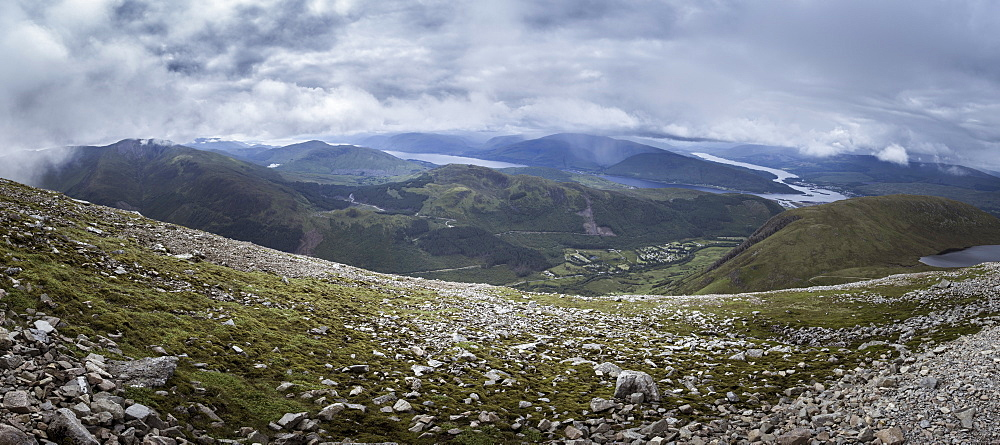 A view towards Glen Nevis from the Mountain Track (Tourist Route), Ben Nevis, Highlands, Scotland, United Kingdom, Europe - 10-392