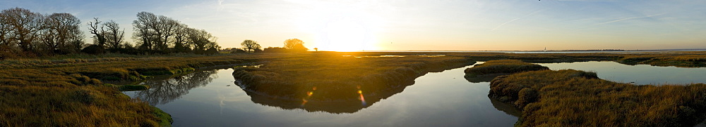 U-bend in the marshes of winter, Chichester Harbour, West Sussex, England, United Kingdom, Europe - 1102-44
