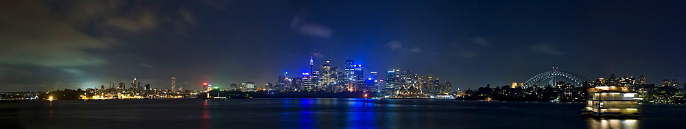 City skyline and harbour bridge at night, Sydney, New South Wales, Australia, Pacific - 1102-56