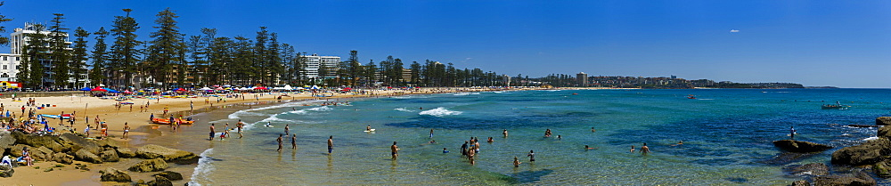 Panoramic of Surf Lifesaving contest, Manly Beach, Sydney, New South Wales, Australia, Pacific - 1102-58