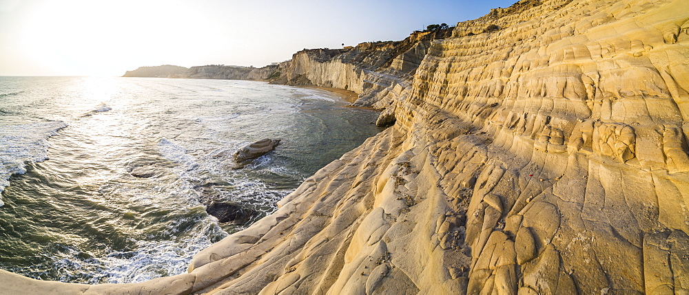 Scala dei Turchi at sunset, Realmonte, Agrigento, Sicily, Italy, Mediterranean, Europe