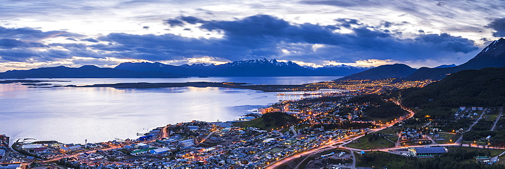 Ushuaia at night, Tierra del Fuego, Patagonia, Argentina, South America