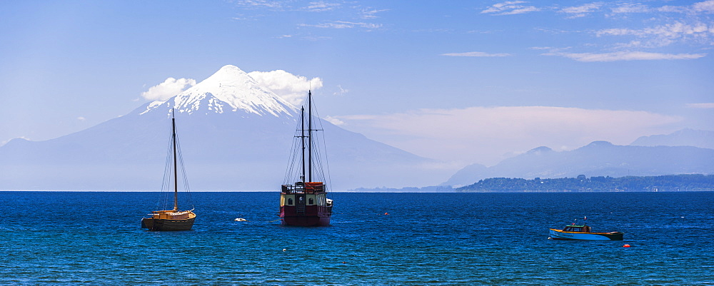 Capitan Haase Traditional Sailing Ship on Llanquihue Lake with Osorno Volcano behind, Puerto Varas, Chile Lake District, Chile, South America