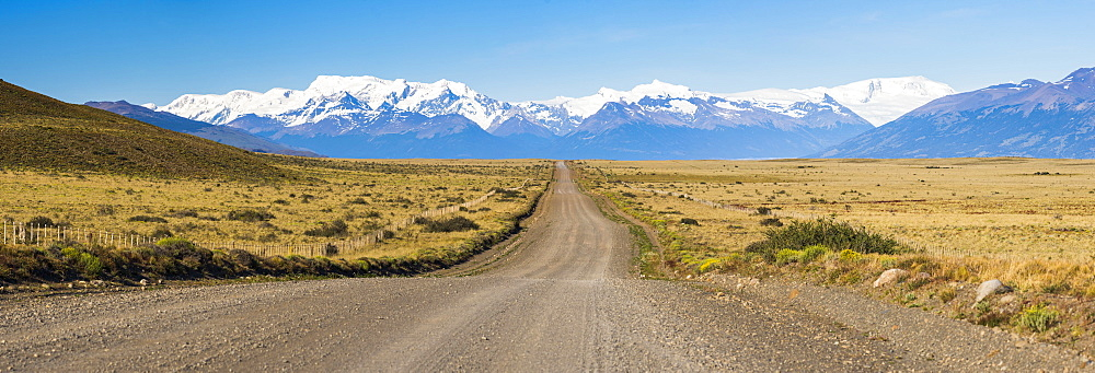 Long straight road to Perito Moreno Glaciar, El Calafate, Patagonia, Argentina, South America - 1109-2533