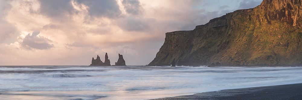 Reynisdrangar Basalt Sea Stacks at sunrise, Vik, South Region (Sudurland), Iceland, Polar Regions