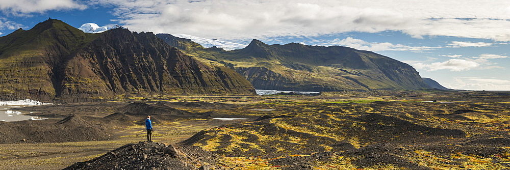 Tourist in Skaftafell National Park, South Region of Iceland (Sudurland), Iceland, Polar Regions