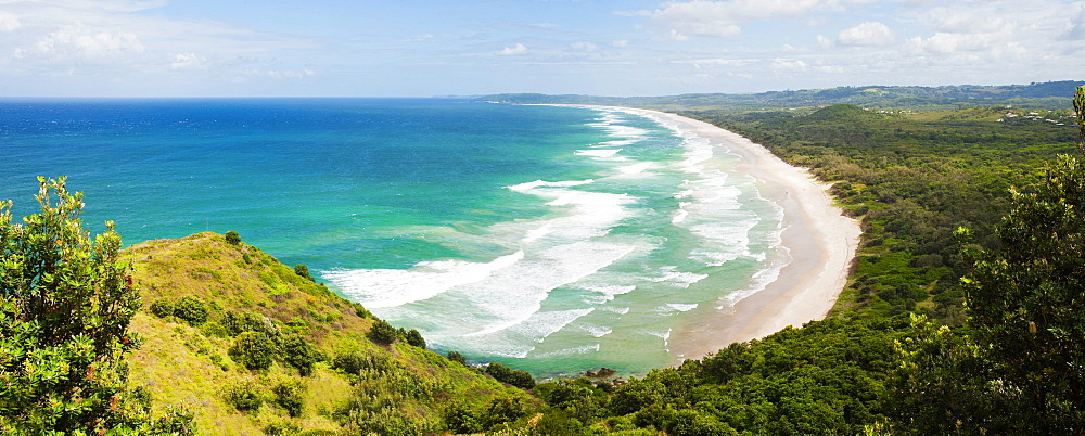 Panoramic aerial view of Tallow Beach at Byron Bay, New South Wales, Australia, Pacific