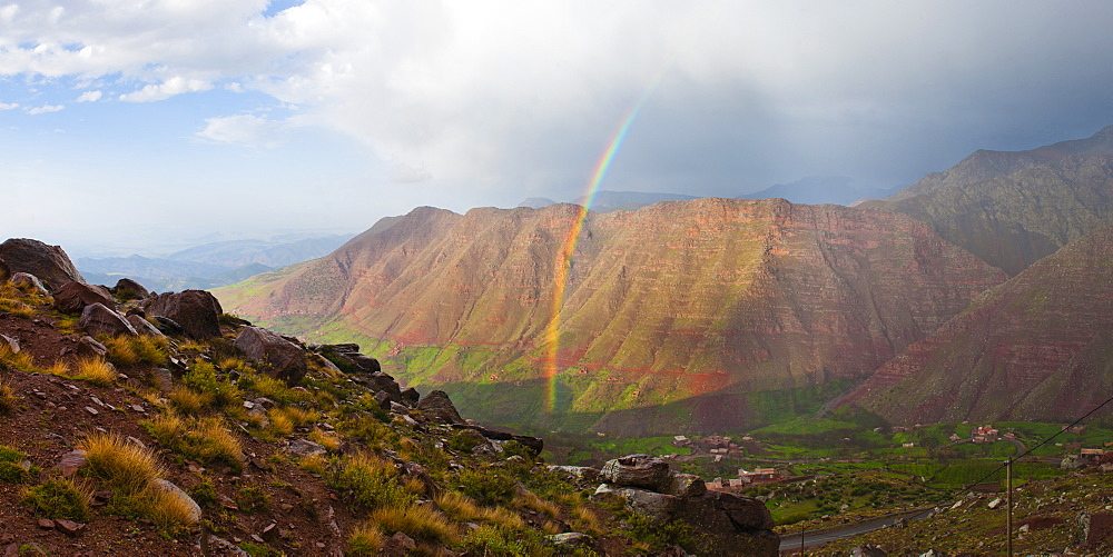 Moroccan High Atlas landscape showing rainbow in the mountains just outside Oukaimeden ski resort, Morocco, North Africa, Africa