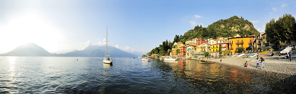 View over Lake Como to Monti Lariani, Varenna, Lombardy, Italy