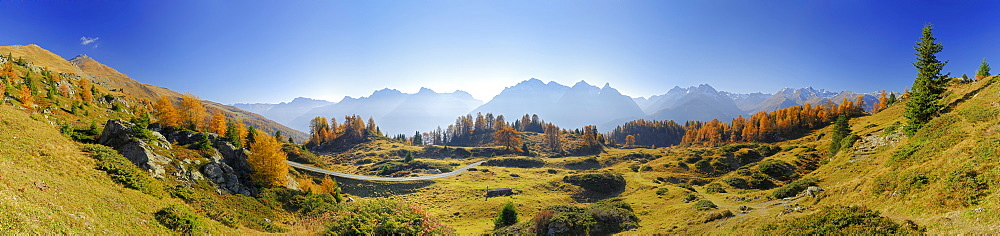 Panorama in Unterengadin with larches in autumn colours and range of Unterengadiner Dolomiten with Piz Lischana, Piz Pisoc, Piz Zuort, Piz Plavna, Piz Nuna and Piz Macun, Unterengadin, Engadin, Grisons, Switzerland - 1113-21750