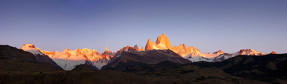 Cerro Torre and Mt. Fitz Roy at the first light of sunrise, Los Glaciares National Park, near El Chalten, Patagonia, Argentina