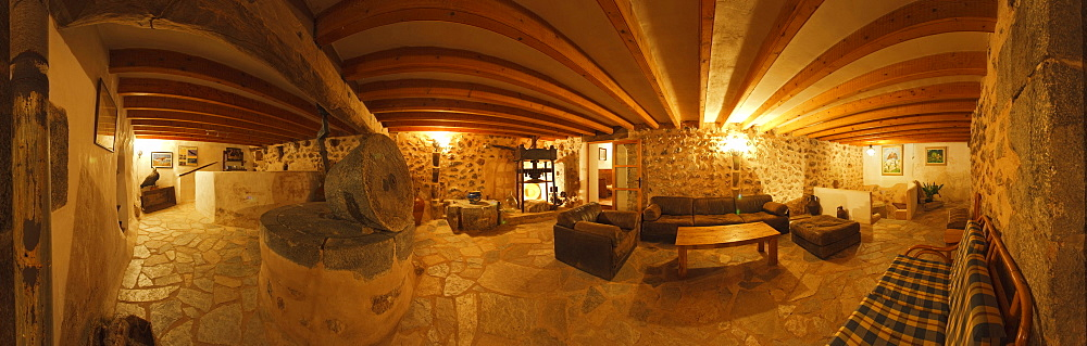 Interior view of Finca Balitx d¥Avall, Tramuntana mountains, Mallorca, Balearic Islands, Spain, Europe