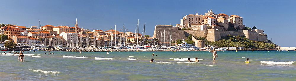 Panorama of the Citadelle and the city of Calvi, Calvi, Corsica, France