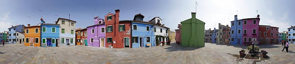 Colourful painted houses on the Island of Burano, Burano, in the Venetian Lagoon, Veneto, Italy