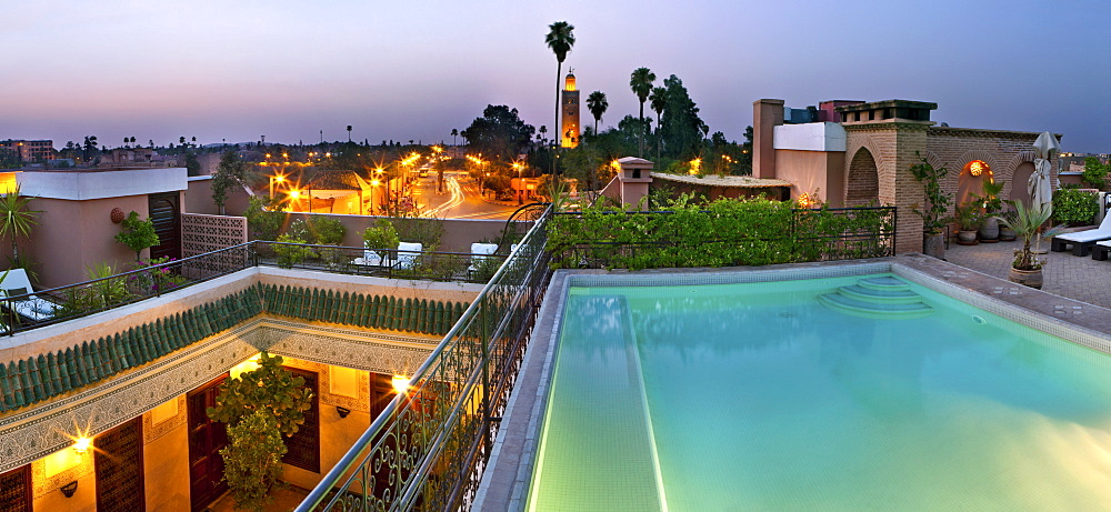 Rooftop swimming pool, Villa des Orangers, Marrakech, Morocco