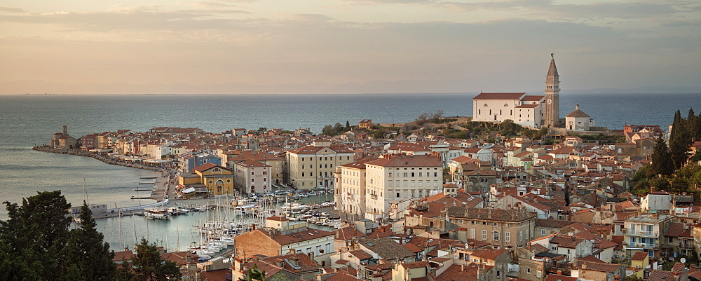 City panorama of Piran with parish church of St Georg, Adria coast, Mediterranean Sea, Primorska, Slovenia