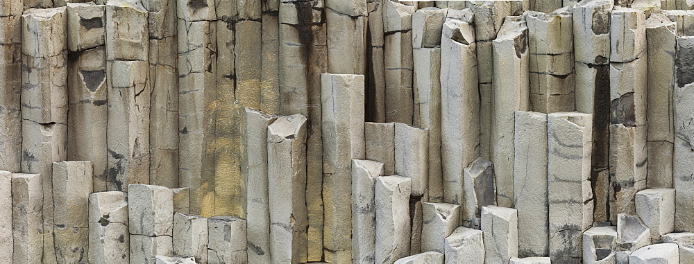 Close up of basalt rock formations at Reynisfjara beach, South Iceland, Iceland