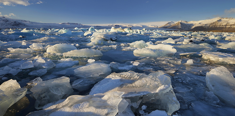 Icebergs in the glacial lake, Jokulsarlon, East Iceland, Iceland