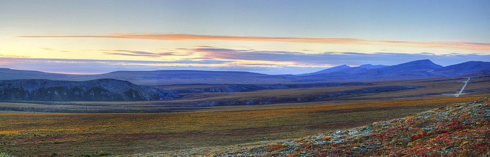 Panoramic at Sunset along the Dempster Highway, near the Northwest Territories-Yukon Border