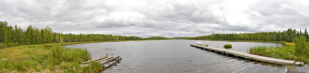 Panoramic of a lake and dock, Yellowknife, Northwest Territories