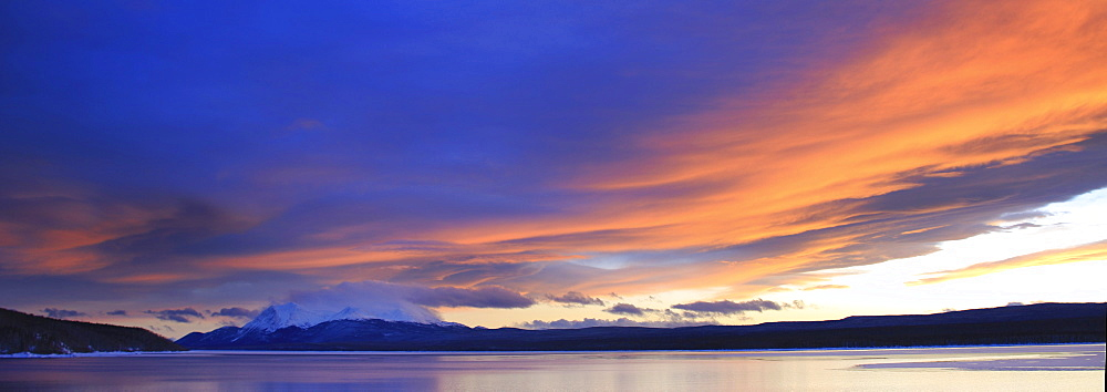 Sunset over Teslin Lake and Dawson Peaks, Yukon