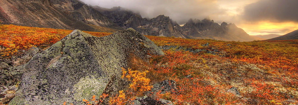 Tombstone Mountain, Tombstone Territorial Park in autumn, Yukon