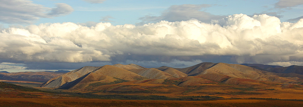 Panoramic image of the Richardson Mountains at the Arctic circle in fall colours, Demspter Highway, Yukon