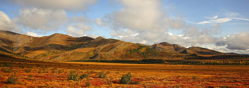 Panoramic view of the The Richardson Mountains at the Arctic circle in fall, Demspter Highway, Yukon