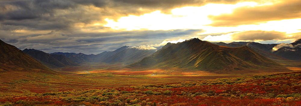 Panoramic image of late afternoon sunlight shining between storm clouds on the fall colours along the Dempster Highway, Yukon