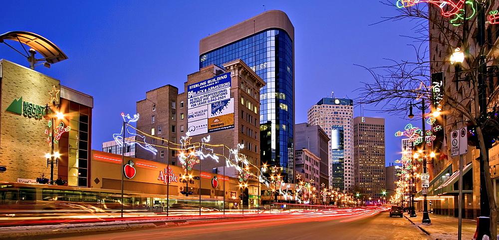 Portage Avenue at night, Winnipeg, Manitoba