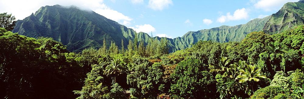 Hawaii, Oahu, Koolau Mountains, Haiku Gardens in foreground.