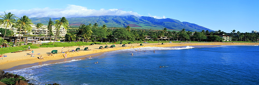 Hawaii, Maui, Ka'anapali, Beach With Families, Couples, West Maui Mountains Background, Blue Sky Panoramic C1596
