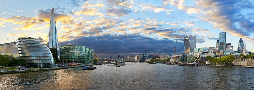 View of the London Financial District, City Hall, The Shard and Thames River, London, United Kingdom