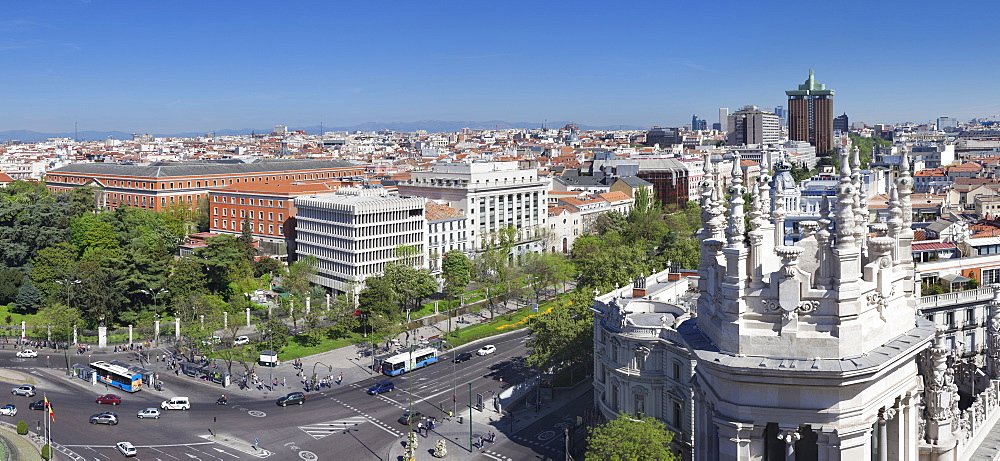View from Palacio de Comunicaciones over Plaza de la Cibeles square at Madrid, Spain, Europe