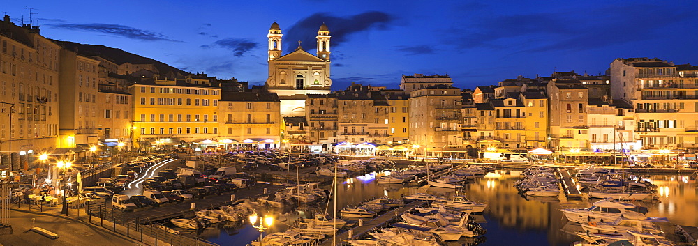 Old town with Old Harbour and Jean Baptiste church, Bastia, Corsica, France, Mediterranean, Europe