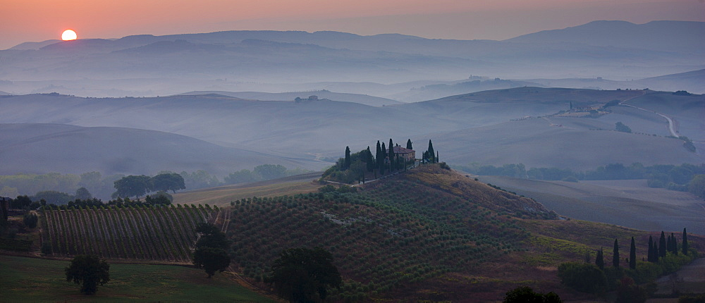 Typical Tuscan homestead, Il Belvedere, and landscape at San Quirico d'Orcia in Val D'Orcia, Tuscany, Italy